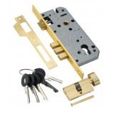 Замок врезной с секретным двухрядным цилиндром  LOCK 4585 5-60B D GOLD